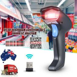 2.4G Wireless Cordless USB2.0 Barcode Scanner Handheld 1D 2D