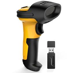 Inateck 2.4GHz 1D Wireless Barcode Scanner, 2600mAh Battery,