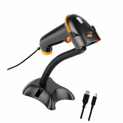 Tera Barcode Scanner Wired with Stand Bar Code Reader USB 1D