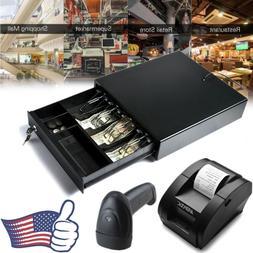 Cash Drawer Box Register Insert 4 Bill Tray Barcode Scanner
