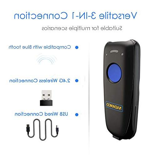 NADAMOO Mini Wireless Scanner, Compatible Function 2.4GHz Wireless & Wired Smart Tablet, CCD Bar Code Work iOS
