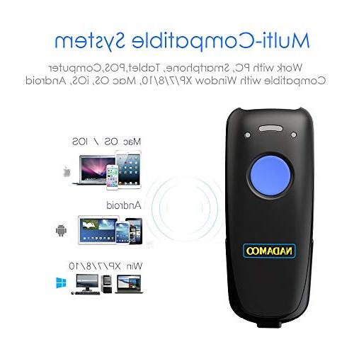 NADAMOO Mini Wireless Barcode Scanner, Compatible with Bluetooth