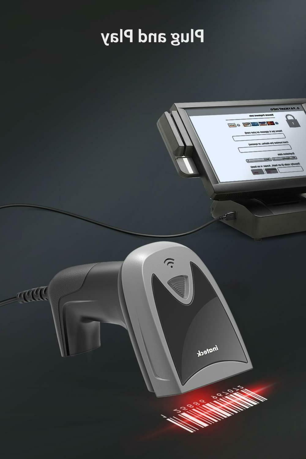 Inateck Screen Scanner, Wired CCD Barcode
