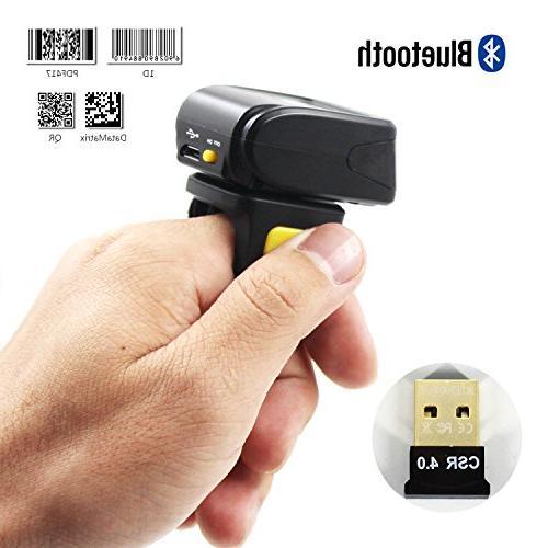 2D Ring Barcode Scanner,Symcode Mini Wireless Finger Barcode Reader