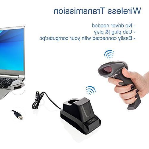 LS-PRO 2D Bluetooth Scanner USB Cradle Receiver Charging Base handheld 1D/2D Data matrix 100 ft Transmission Range long-life Warranty