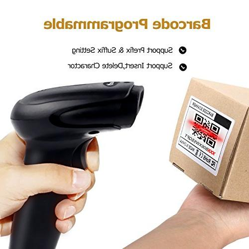 2D Wireless Barcode Datamatrix Handheld Reader for Screen and Printed Bar Scan, Mac Linux PC POS