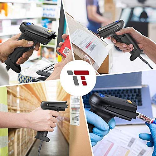TaoTronics Cordless Handheld Bar Code Scanner Black, 32-bit Decoder, Mobile Range