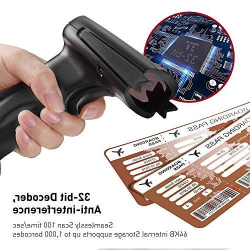 TaoTronics 2.4G Handheld Scanner Reader Black, 32-bit Mobile Moveable, Optical Laser,Short Range