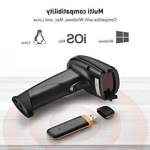 TaoTronics 2.4G Handheld Scanner Reader Kit Black, 32-bit Mobile Optical Range