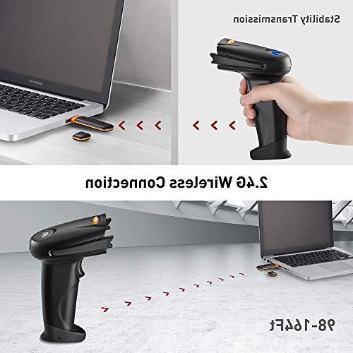 TaoTronics 2.4G Handheld Barcode Bar Code Scanner Reader - Black, 32-bit Anti-interference, Mobile Optical Laser,Short Range