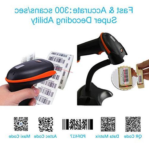 Tera Barcode Scanner 1D 2D 2-in-1 2D QR Bar Code Scanner Cordless CMOS Barcode Reader Mobile Payment Computer Barcode Stand