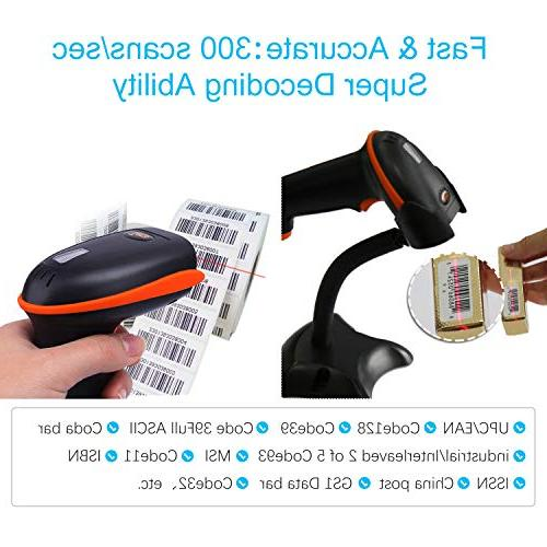 Tera Scanner Versatile 1D Barcode Reader Handheld Scanner with Stand