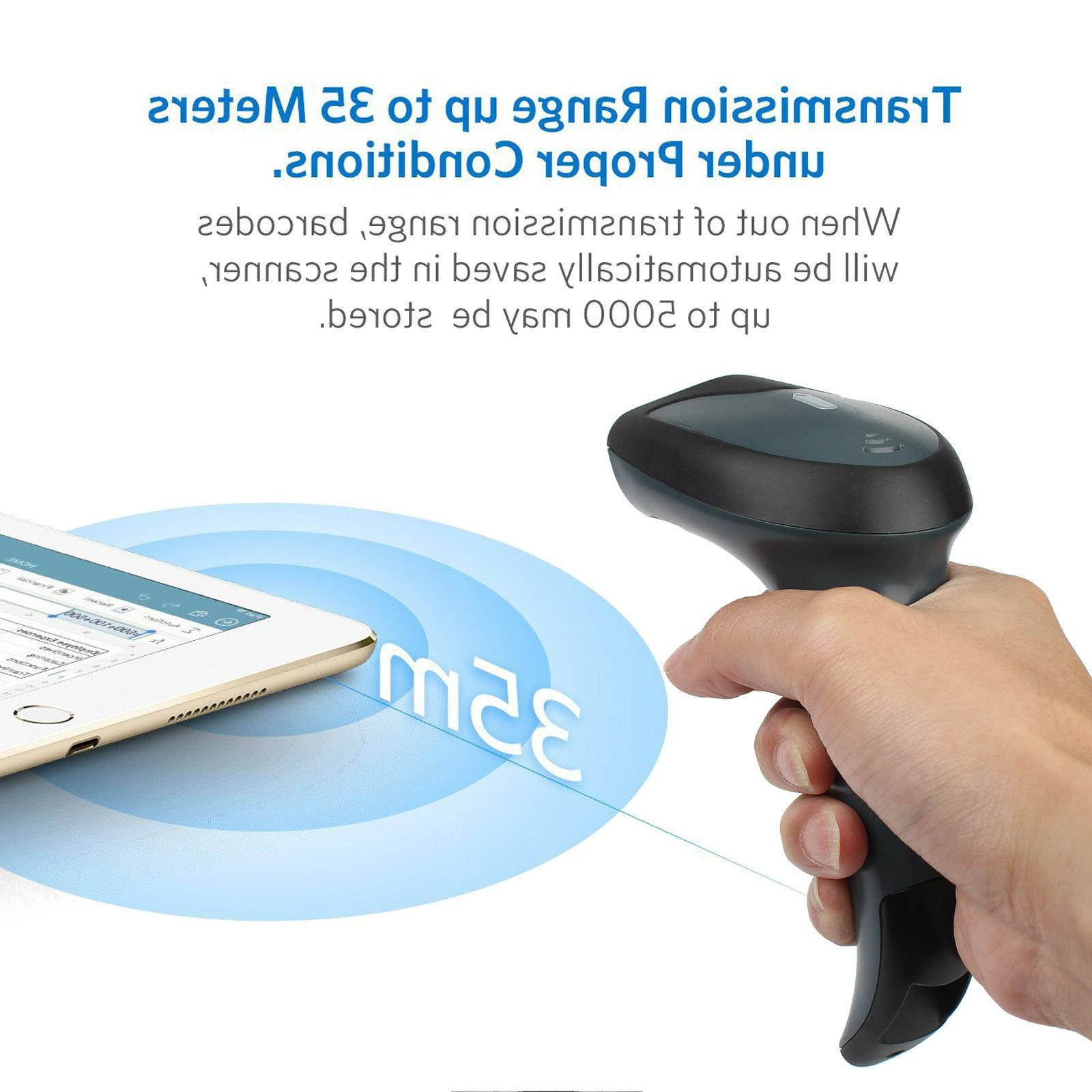 Wireless Bluetooth 2.4G Scanner Handheld USB Laser Rechargeable