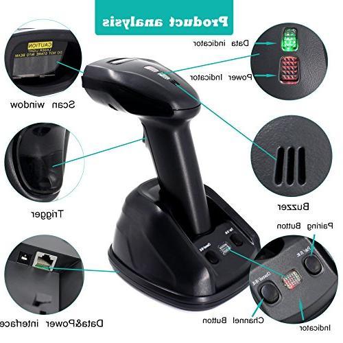 1D Cradle Wireless Barcode Scanner,Symcode Barcode Reader Wireless Transmitting Distance 300-400 Meters