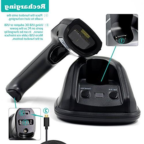 1D Cradle Barcode Scanner,Symcode 433MHZ Laser Barcode Charge Wireless Transmitting Meters