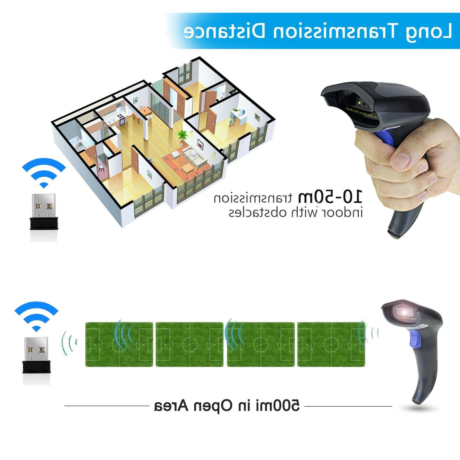 Wireless Bluetooth 2.4G Scanner USB Laser Rechargeable