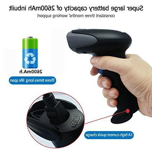 NYEAR Wireless Wired Two in USB Barcode Scanner, 1D Handheld Inventory Code Continuous for Computer Windows with APP