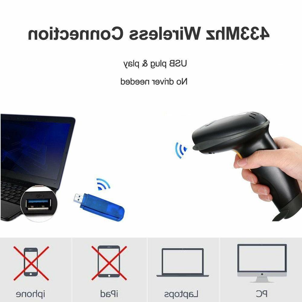 NADAMOO 433Mhz Wireless Barcode Scanner Feet Distance