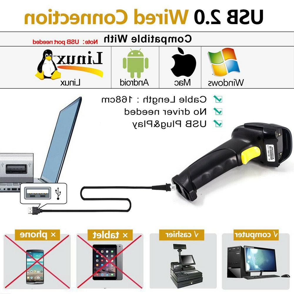 Portable Handheld USB Laser Barcode Scanner With Stand,Bar