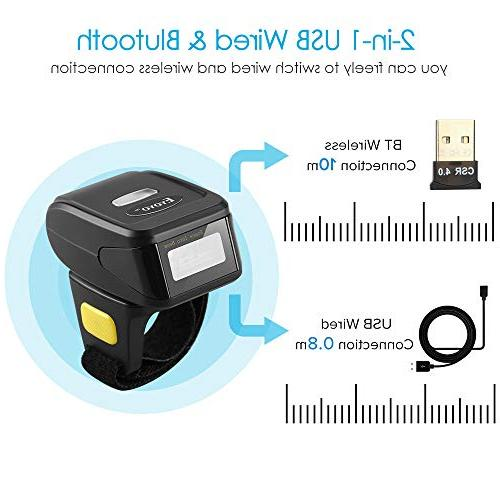 Bluetooth Ring 1D 2D QR Barcode Scanner,Wearable Wireless Finger Mini Bar Code Reader Compatible for Windows iOS Support Scan QR PDF417 DataMatrix on Screen and Paper Mac OS Android 4.0+