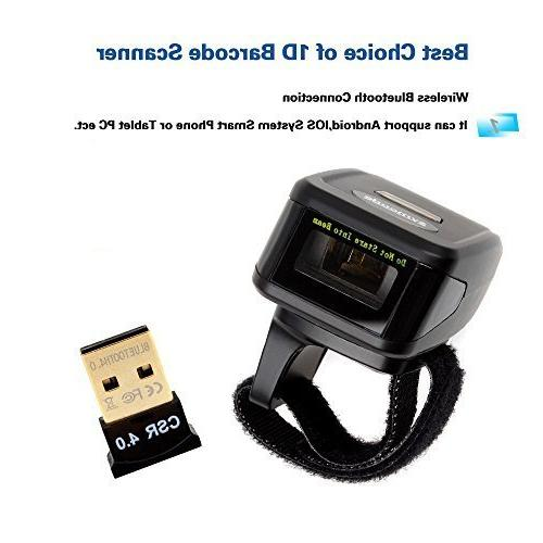 Eyoyo Portable Wearable Ring Barcode Scanner 1D Reader Mini Wireless Barcode Scanner Compatible 4.0+/Windows/Mac