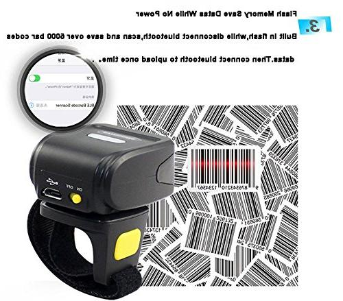 Eyoyo Portable Wearable Barcode Scanner 1D Mini Wireless Finger Scanner Compatible 4.0+/Windows/Mac