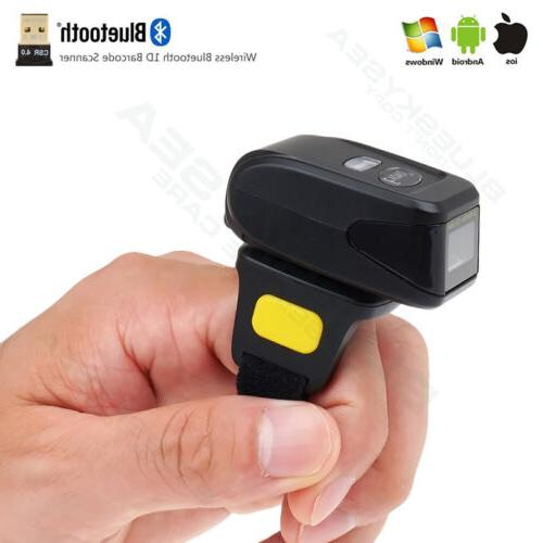 Wireless BTOOTH 2D Barcode Finger Ring Mini Scanner Fr Apple