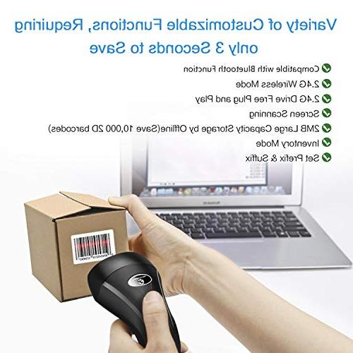 Koolertron Upgraded Dual Wireless 2D Barcode Scanner + with Bluetooth Wireless Function PDF417 Data Matrix UPC Rechargeable Bar