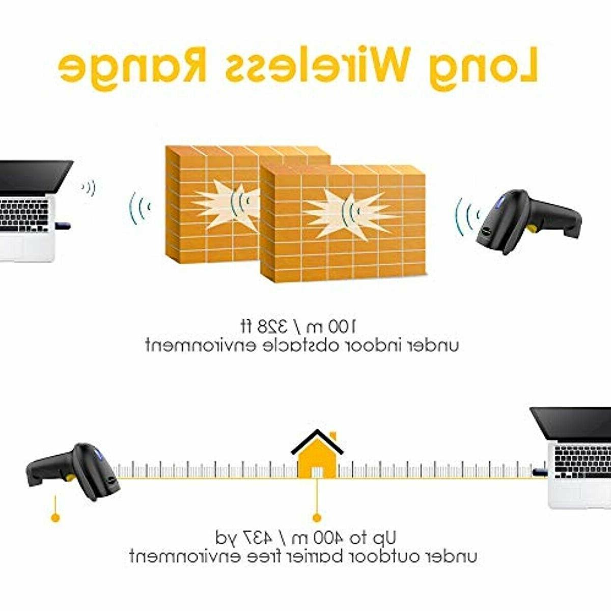NADAMOO Scanner 328 Feet Transmission USB Cordless 1D