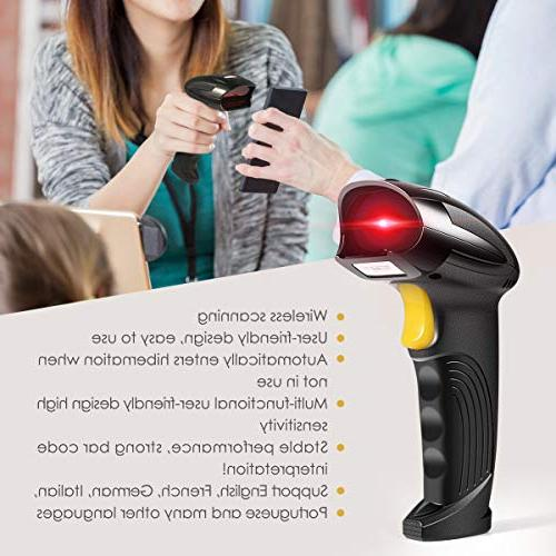 Wireless Scanner, 2-in-1 2.4GHz Wireless & USB Automatic Reader Rechargeable Bar Hand Scanner Computer POS Laptop