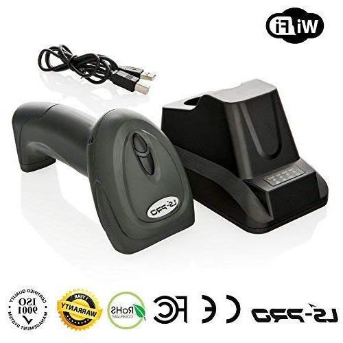 LS-PRO Scanner with Cradle Charging Base, 1D Cordless Laser Reader, UP to Transmission 2200mAh, 1