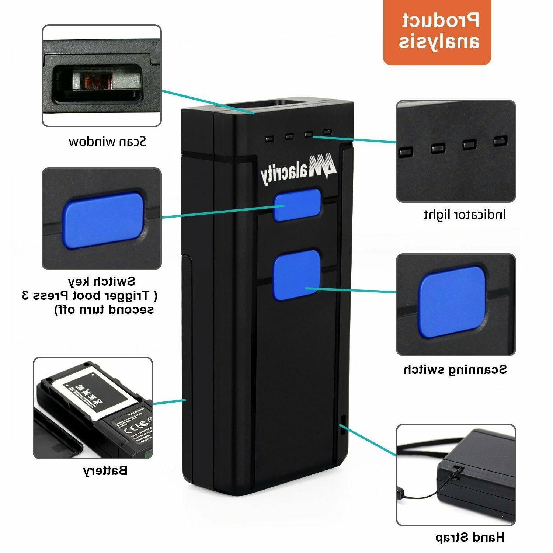 Wireless Bluetooth Mini 1D Laser Barcode Scanner USB Portable