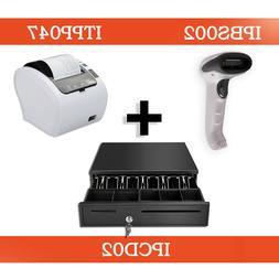 White bluetooth barcode scanner + 80mm thermal printer usb l