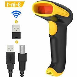 DinoFire Wireless 1D 2D QR Barcode Scanner, 3 in 1 Compatibl