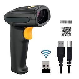 YOUTHINK 2.4GHz Wireless Barcode Scanner with USB Receiver,